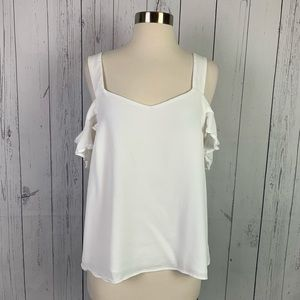 Sanctuary | ruffle white cold shoulder tank  | M